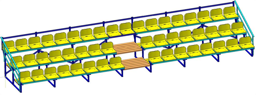 Трибуна трехрядная с пластиковыми сиденьями